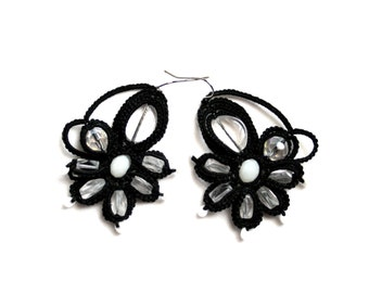 Artisan Black White Crystal Floral Motif Beaded Dangle Tatting Earrings