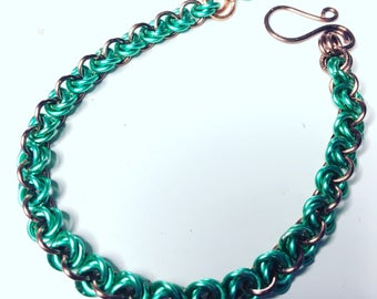 Green and Copper chain mail bracelet .