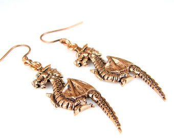 Copper Dragon Earrings, Antiqued Copper Dragon Earrings, Copper Earrings, Dragon Earrings
