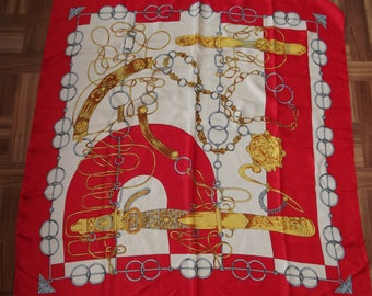 Vintage SCARF - Red and White showing dramatic scene of daggers and chains
