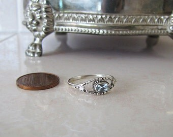Adorable Little Blue Topaz Sterling Silver Ring, size 8, Sale