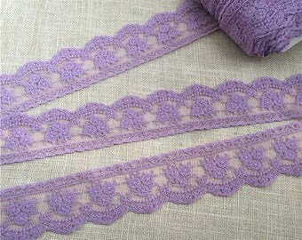 Floral Lace Trim Scalloped Purple Cotton Embroidered Tulle Lace 2.75 Inches Wiede 2 Yards