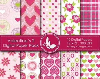 40% off Valentine's Paper Pack 2 - 10 Digital papers - 12 x12 - 300 DPI ////// 2