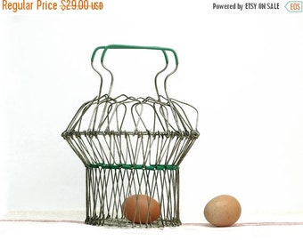 French vintage wire fruits basket, eggs basket, original shaped mid century