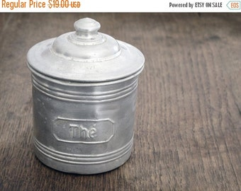 vintage French metal  kitchen canister, kitchenware, tea metal box