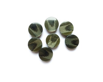 6 Olive Green Vintage Buttons, Iridescent , Antique Buttons, Plastic