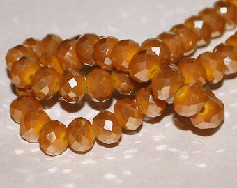 22 pcs 8x6mm Opaque Dark Gold Luster Faceted Rondelle Glass Beads  ODGL
