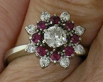 JABEL DIAMOND and RUBY Ring in 18k White Gold, Circa 192O