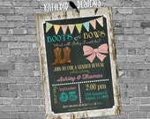 gender reveal invitation boots or bows lace cowboy wood bunting chalkboard gender neutral baby shower (item 1410) shabby chic invitations