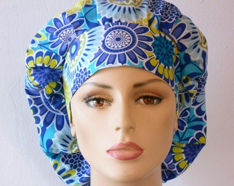 Scrub Hats Modern Blue Floral  Medalions Womens Bouffant Scrub Hats with a Matching Headband USA