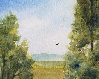 ACEO Original watercolor painting - Fields and trees