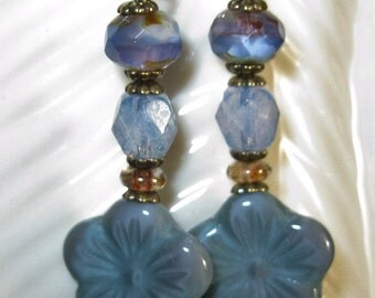 Aqua Flower Earrings, Women's All Czech Glass Beads -  Blue Faceted Bead, Oval Picasso Rondelle Tan  Bronze Hook