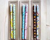 Set of 2 fine gel pens (0.38 mm) in cute Floral Print, Black Ink, Planner Accessories, Kawaii Pens, Planner Pens, Stationery, Gel Pens