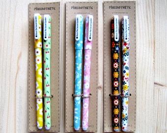 Set of 2 fine gel pens (0.38 mm) in cute Floral Print, Black Ink, Planner Accessories, Kawaii Pens, Planner Pens, Stationery,Planner Goodies