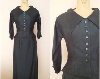 1940s Green Silk Skirt Suit / Dark Green Silk Suit / Vintage 1940s Skirt Suit / Small