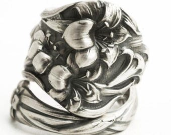 Day Lily Ring, Flower Sterling Silver Spoon Ring, Antique Watson Floral Ring, 5th Anniversary Gift, Trumpet Flower, Adjustable Size (6519)