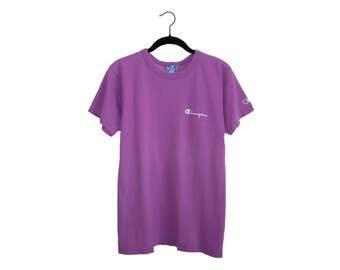 Vintage Champion Athletics Bright Purple 100% Cotton Crewneck T-Shirt, Made in USA - Medium
