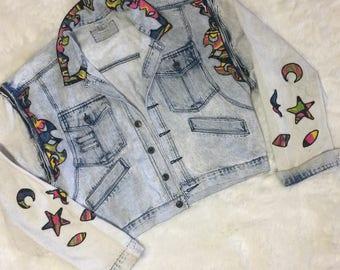 Vintage 80s 90s Neon Patch Stone washed Denim Jacket Convertible Zip Jean Vest