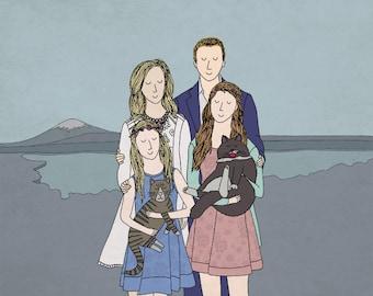 Personalised Family, Couples, Pet Portrait Custom Print