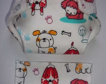 Baby Doll Diaper/wipe - playful doggies, paw prints, dog bones  - adjustable for many dolls such as bitty baby