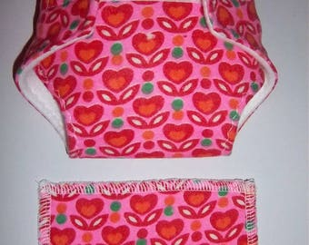 Baby Doll Diaper/wipe - tulip heart flowers on pink  - adjustable for many dolls such as bitty baby