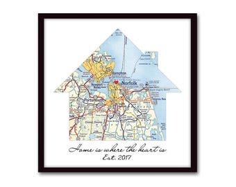 Our First Home Housewarming Gift, Personalized Map New House Gift, New Homeowner, House Warming Gift, Realtor Closing Gift, Wedding Gift