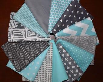 Gray & Blue Fat Quarter Bundle of 13 with Mixed Lines From Moda, Riley Blake, Robert Kaufman, Art Gallery, RJR