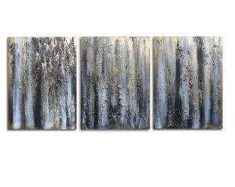 Triptych Abstract Heavy Textured Wall Art Metallic Gold Black Birch 3 Panel Home Decor Office Decor 24 x 54 - Skye Taylor