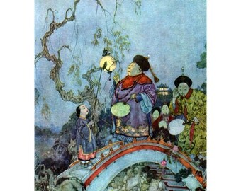 Fairy Fridge Magnet - The Emperor and the Nightingale - Hans Andersen Fairy Tale - Edmund Dulac Repro