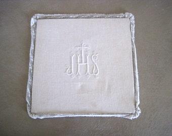Linen Lace Chalice Pall Hand Embroidered IHS Antique French Religious Catholic Pall