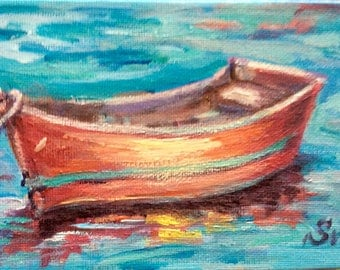 Red boat  original painting 4 x 6""