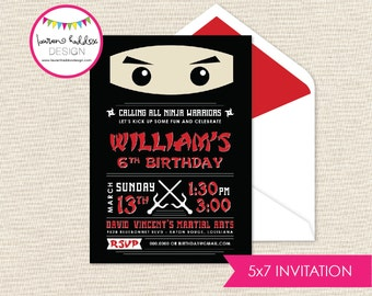 Ninja Birthday Invitation, Karate Birthday Invitation, Ninja Printables, Karate Birthday Decorations, Lauren Haddox Designs