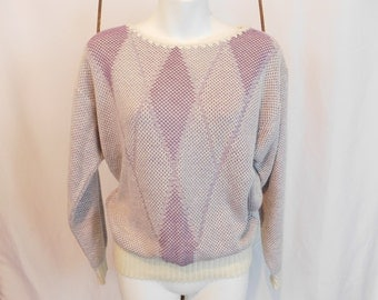 Vintage 80's Knit Sweater, Purple Diamond Sweater By Jessica Scott