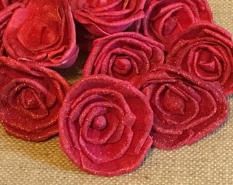 Sola Rose flowers  -- SET of 6 -- RED roses with RED glitter
