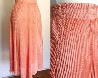 FREE SHIPPING//Thrill Me Skirt//1970s Disco Blush Pink Frill Skirt