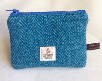Harris Tweed blue herringbone coin purse, zipped coin pouch, change purse, scottish gift, mothers day