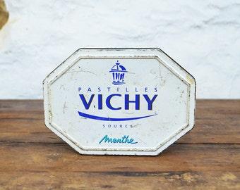 Tin Box Vichy Etat Pastilles Unusual Shabby rusty Octagonal white navy vitchy rusty trinket