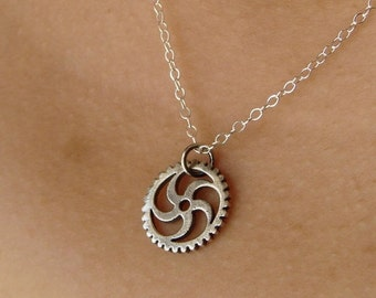 SALE - Gift Necklace Oxidized Sterling Silver Gear Necklace