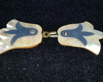 1930's Abalone shell,  2-Piece, Dress or belt Buckle, silver,  or 2 Jewelry Pendents, mother of pearl