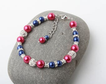 Pink and Navy pearl bracelet, bridesmaid bracelet, blue and Fuchsia wedding bracelet, maid of honor gift, mother of the bride or groom gift