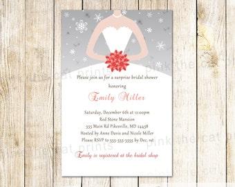 Winter Bridal Shower Invitation Winter Invitation Snowflakes Invitation Grey Coral Bridal Shower Winter Sweet 16 Invitation Dress Invitation
