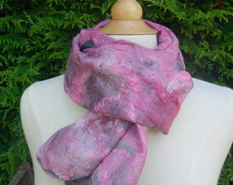 silk nuno felted scarf silk hankies with wool scarf grey scarf pink scarf light summer scarf soft silky scarf light and drapes well