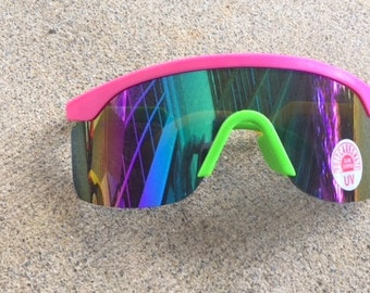 1980s Rainbow REVO NOS Sunglasses.retro. colorful shades. urban. hipster. aviators. neon. rainbow shades. hipster. indie. pink. purple.