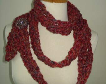 Handmade Crochet Extra Long Scarf in a Fun Color Mix