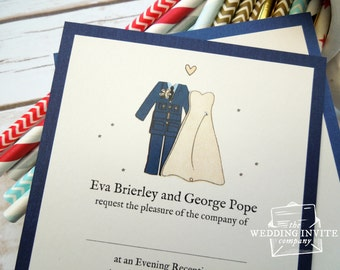 RAF (Royal Air Force) Bride and Groom Postcard Wedding/Evening Invitations