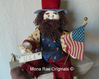 Uncle Sam ~ Patriotic 24 Inch Soft Sculptured Doll ~ July 4th, Flag Day, Labor Day, Independence Day Doll