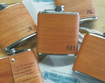 6 Groomsmen Flask with Hand Dyed Engraved Flask Leather Wrap - with FREE Engraved Message on Backside!