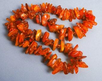 Antique Vintage genuine Baltic amber strap, necklace. Large huge beads. Cognac brown gemstones. 206 gr