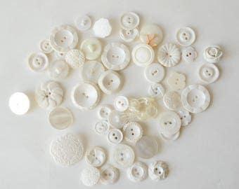 """LOT Vintage White Sets 2 4 hole Shank Assorted Buttons Destash Crafts 3/8"""" - 1 1/4""""  -B4B"""