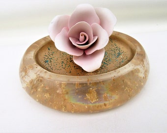 Vintage Soap Dish | Nicole Miller | Acrylic Soap Holder | Gold Confetti – As Is
